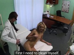 Blonde patient getting...