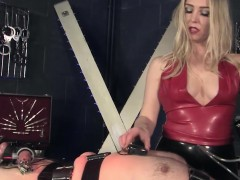 Mistress clamping pathetic sub