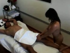 Asian masseur slides all...