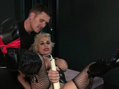 Strapped huge tits blonde...