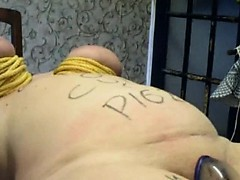 Fat sub spanked and humiliated